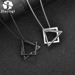 Fashion Simple Pendant Necklace for Men Women Stainless Steel Geometric Interlocking Chain Choker Male Jewelry Accessories Gifts