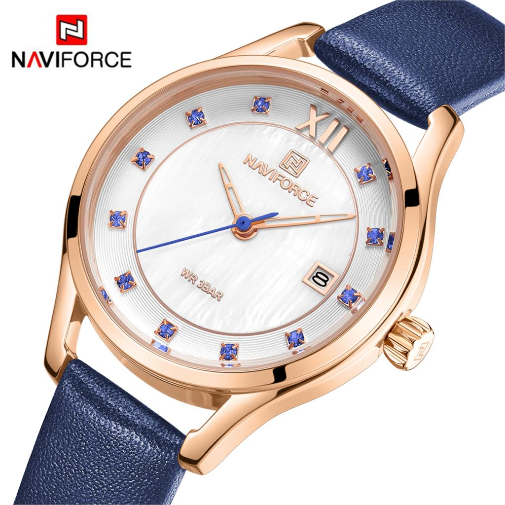 NAVIFORCE женские часы модное платье женские кварцевые часы кожаные повседневные водонепроницаемые наручные часы подарок для жены фиолетовый ...