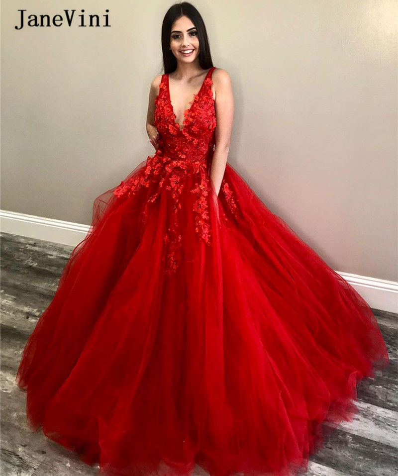JaneVini Charming Red Ball Gown Long Quinceanera Dresses 2020 Deep V Neck Handmade Flowers Beaded Puffy Tulle Arabic Prom Gowns