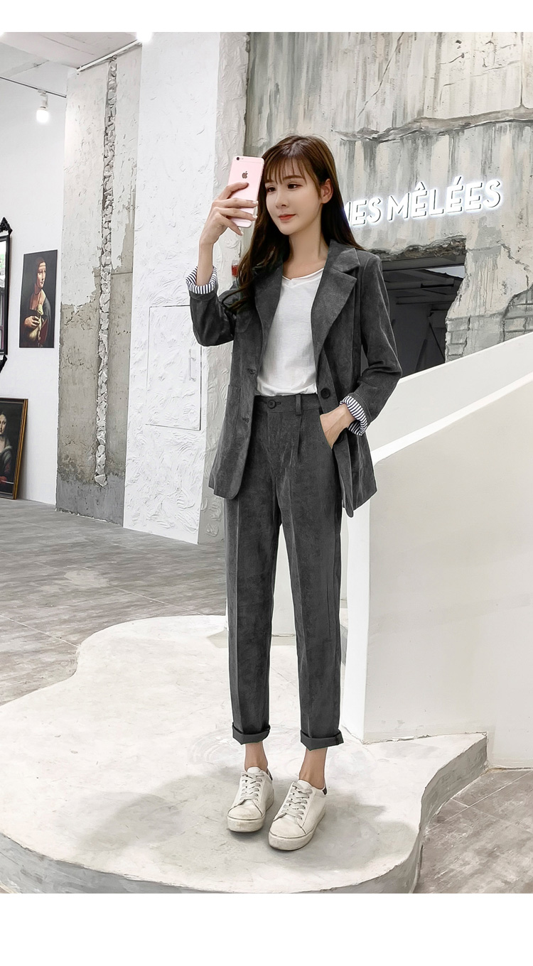 Autumn Winter Blazer Pants Suit Women Korean Chic Fashion Office Ladies Green Corduroy Casual High Waist Small Feet Pants Suit 62