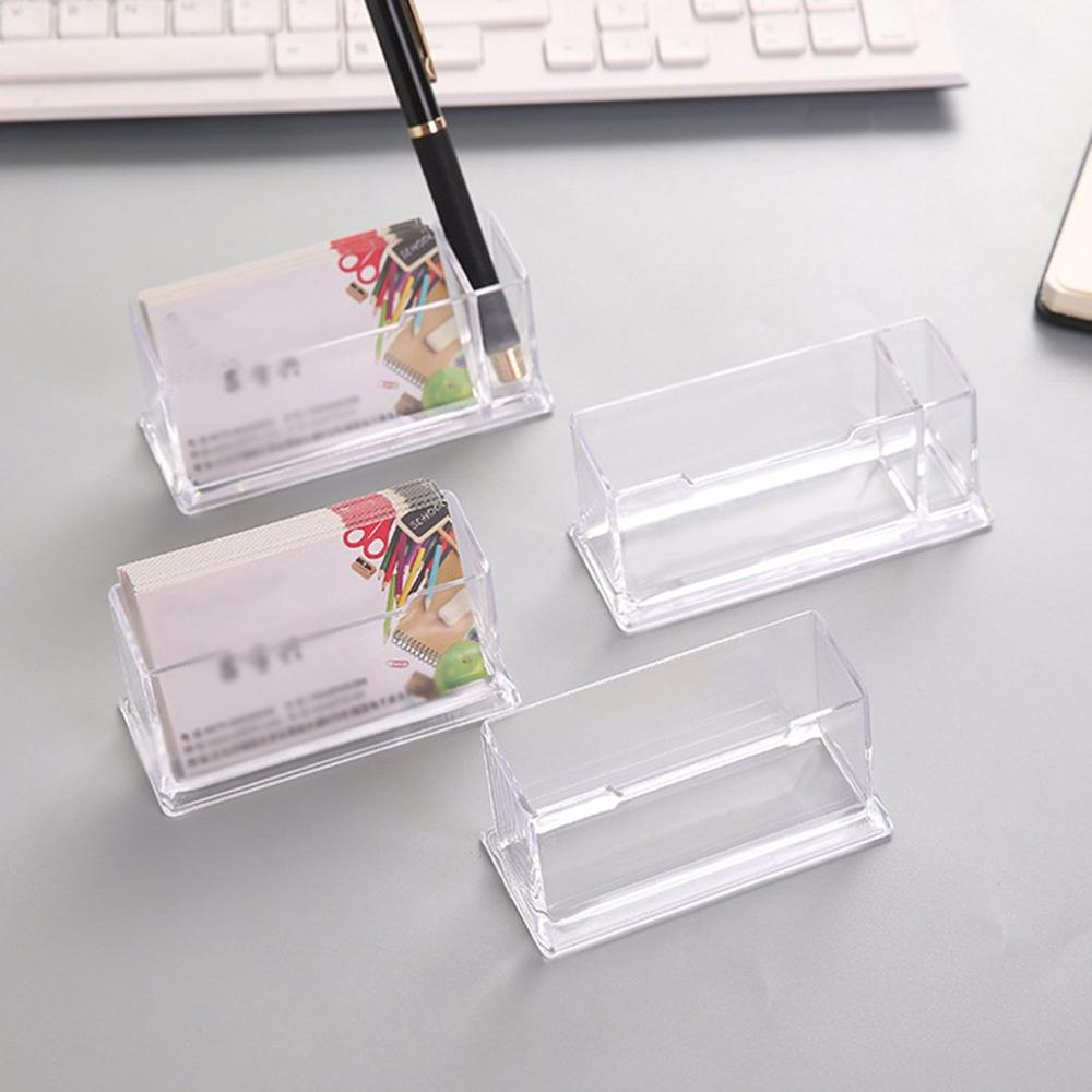 Portable Clear Business Card Holder Display Stand Desk Desktop Countertop Business Card Holder Desk Shelf Box