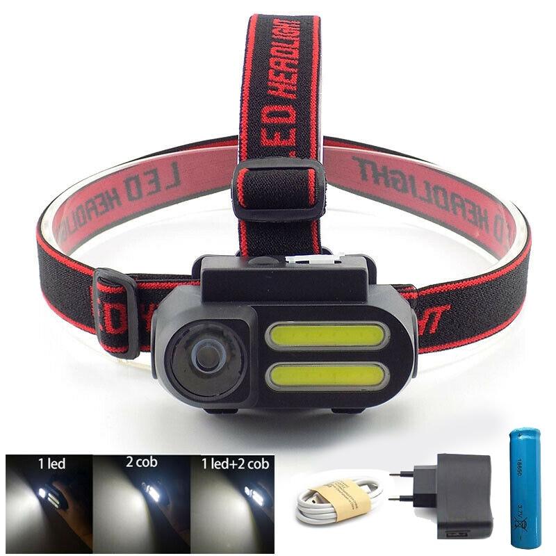 Powerful 3 Led COB USB Headlamp Headlight 18650 Frontal Mini Head Lamp Torch Light  Night Lighting Linterna Flashlight Camping