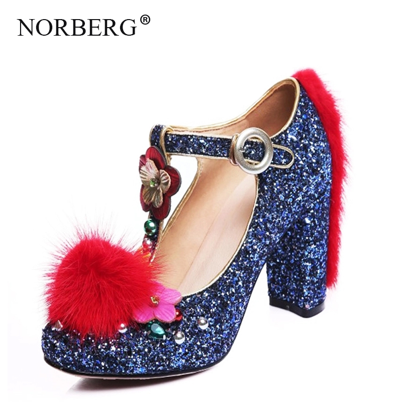 NORBERGElegant Woman Shoes Blue Wedding Shoes  BrideGlitt Sequins Mary Jane Crystal Ladies High Heel Shoes With Flowerpump