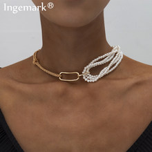 Punk Unieke Imitatie Parel Ketting Voor Vrouwen Bruiloft Steampunk 2020 Gothic Twisted Chunky Dikke Choker Ketting Sieraden(China)