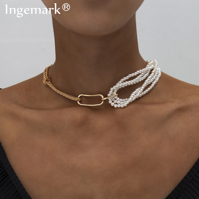 Punk Unique Imitation Pearl Chain Necklace for Women Wedding Steampunk 2020 Gothic Twisted Chunky Thick Choker Necklace Jewelry
