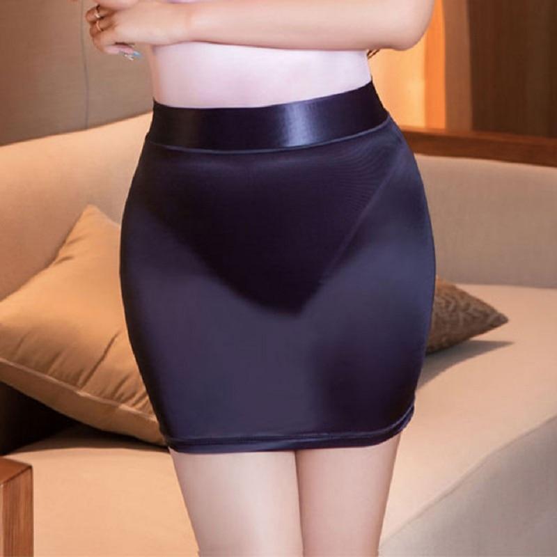 OL MINI Skirt Sexy Shiny Glossy Tight Pencil Skirt See Through Candy Color High Cut Micro Mini Skirt Erotic Club Wear Sexy Women