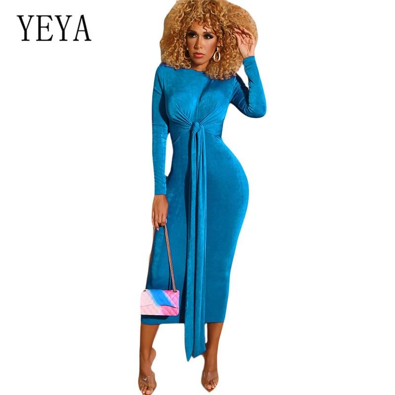 YEYA Bandage Dress New Arrivals Autumn Women Long Sleeve O Neck Solid Slim Femme Elegant Party Sexy Red Dresses