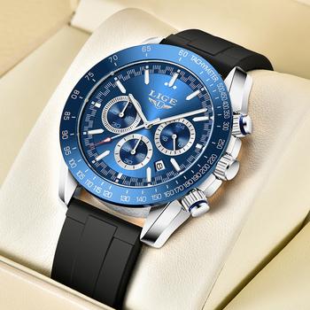 2021 nowy zegarek biznesowy mężczyźni Top LIGE marka luksusowy chronograf wojskowy mężczyźni oglądać na co dzień wodoodporny sport zegarek kwarcowy z datownikiem mężczyzna tanie i dobre opinie 24cm QUARTZ NONE 3Bar Sprzączka CN (pochodzenie) STAINLESS STEEL 13mm Hardlex Kwarcowe zegarki Papier Silikon 45mm LIGE8943