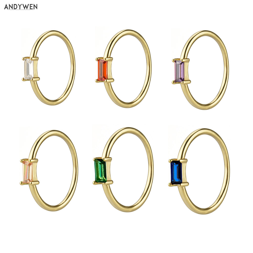 ANDYWEN 925 Sterling Silver 1.5mm Rainbow Ring Slim Round Women Luxury Colorful Zircon CZ Jewelry in 2020 Fashion Statement