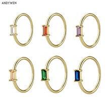 ANDYWEN 925 Sterling Silver 1.5mm Rainbow Ring Slim Round Women Luxury Colorful Zircon CZ Jewelry in 2020 Fashion Statement