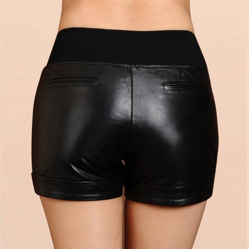 Autumn Winter High Waist Leather Shorts Women Genuine Sheepskin Casual Shorts Sexy Ladies Plus Size Black Real Leather Shorts