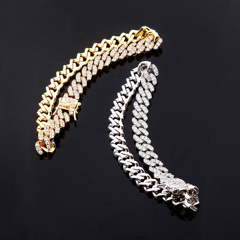 9mm Hip Hop Baguette Anklet Iced Out Cubic Zircon Miami Curb Cuban Link Chain Feet Leg Jewelry Gold Silver Color for Wonem Girl