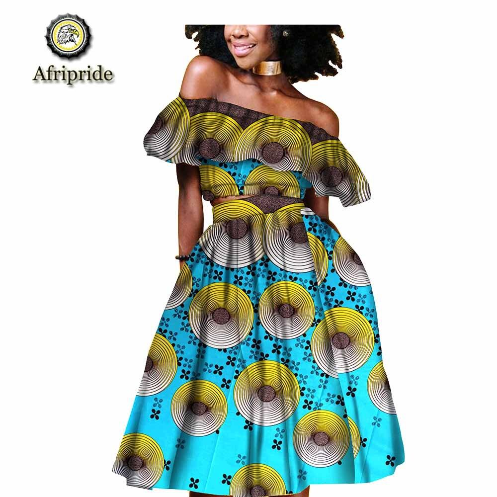 2019 afrykańskie stroje dla kobiet AFRIPRIDE ankara drukuj dashiki bazin riche wiosna bez rękawów prywatne niestandardowe 100% bawełna S1826011 w Zestawy damskie od Odzież damska na  Grupa 1
