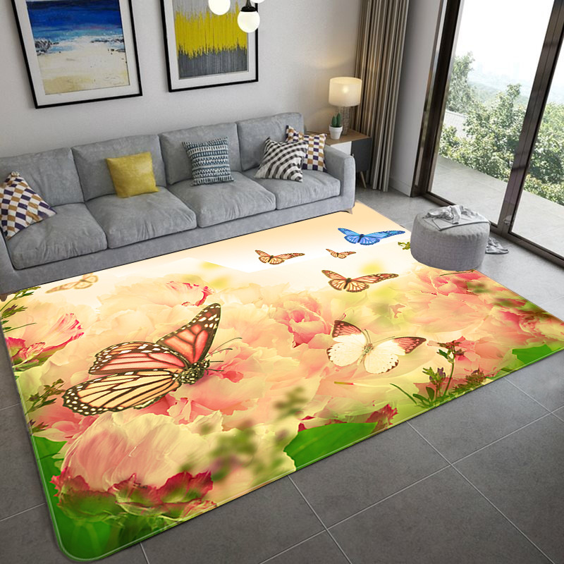 Modern Large Size Mat 3D Dream Cartoon Butterfly/Cat Print Carpets For Living Room Home Decor Rugs Soft Flannel Bedroom Area Rug