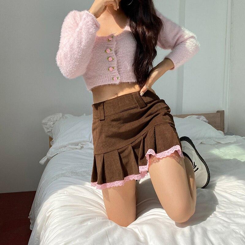 Brown Corduroy Y2K Pleated Skirts Women Vintage 90s Aesthetic School Girl Mini Skirt Lace Trim Hem Cute Kawaii
