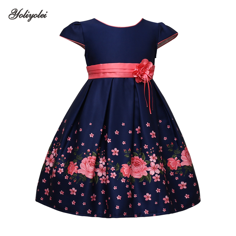 Yoliyolei Kids Flower Dresses Girls Christmas Child Clothing Dress Princess Brithday Wedding Party Baby Girl Clothes With Belt