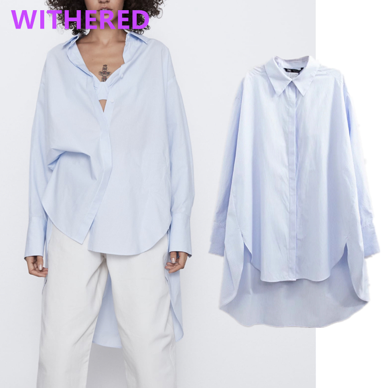 Withered England Vintage Striped Oversize Blouse Women Blusas Mujer De Moda 2020 Long Shirt Womens Tops And Blouse Plus Size