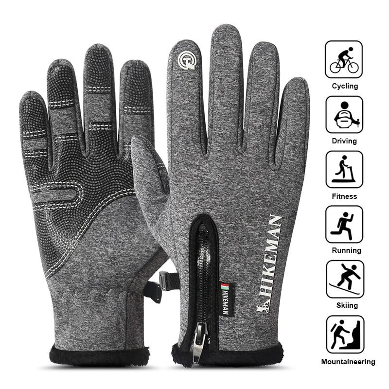 Winter Thermal Fleece Lined Warm Gloves Men Women Driving Touchscreen Waterproof