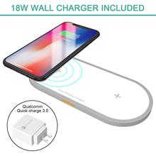 Dual Wireless Charger Fast Charger, Hometall 18W Dual Wireless Charging Board with Line and Qualcomm3.0 Fast Charge Wall Adapter цена и фото