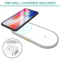 Dual Wireless Charger Fast Charger, Hometall 18W Dual Wireless Charging Board with Line and Qualcomm3.0 Fast Charge Wall Adapter