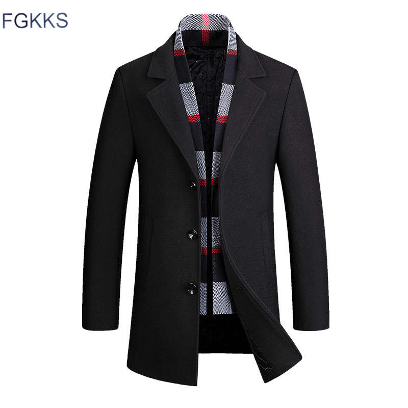 FGKKS Men Brand Wool Blend New Fashion Winter  Warm Thick  Woolen Solid Color Coat Slim Fit Male Trench Coat (Give A Scarf)