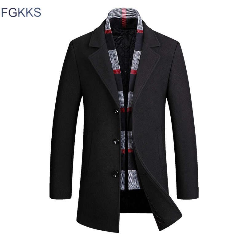 FGKKS hommes marque laine mélange nouvelle mode hiver chaud épais laine couleur unie manteau Slim Fit mâle Trench Coat (donner une écharpe)