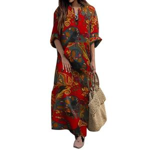 maxi dresses for women summer 2020 Women Autumn Vintage Long Sleeve Ethnic Floral Print Folk Custom Maxi Dress Women Robe Femme