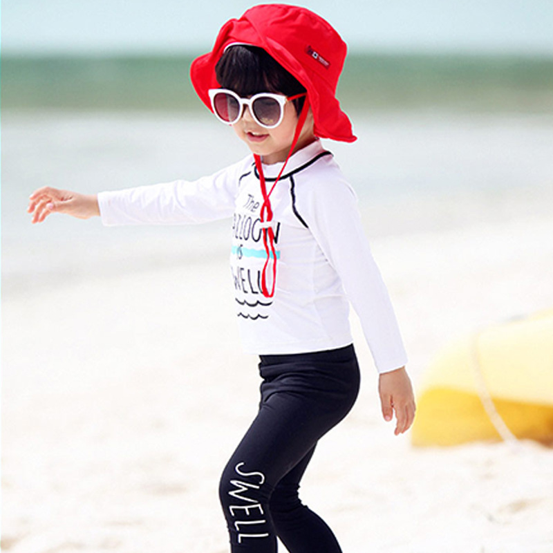 South Korea New Style KID'S Swimwear BOY'S GIRL'S Big Boy Split Type Tour Bathing Suit Baby Long Sleeve Trousers Sun-resistant S
