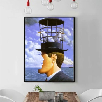 Rene Magritte his Classic Hat Painting Printed on Canvas 1