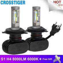 الصمام لمبة H4 H7 S1 مصباح أمامي للسيارة التصميم مصابيح عالية منخفضة شعاع Autuo السوبر مشرق Lampada LED H4 السيارات لمبة CSP 8000LM 6000K