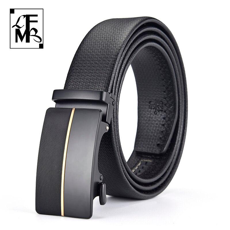 [LFMB]Men's Belt Cow Leather luxury Brand Fashion Automatic Buckle Black Genuine Leather Belts for Men 3.5cm Width