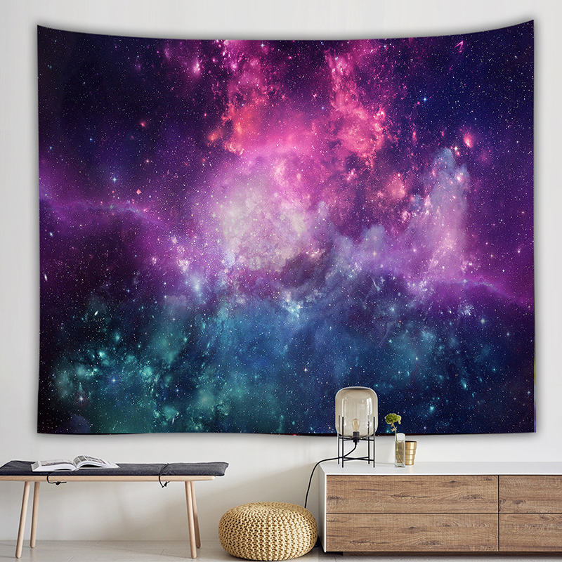 Romantic Galaxy Hippie Tapestry Wall Hanging Mandala Starry Sky Celestial Psychedelic Tapestry Wall Fabric Art Carpet Dorm Decor