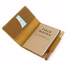 100% Lederen Notebook Cover Voor Veld Merkt Vintage Hervulbare Handgemaakte Dagboek Journal Carry Memo Boek Met Kaarthouder