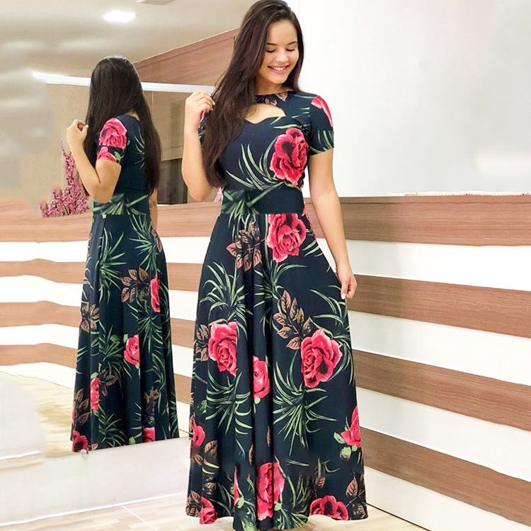 Summer Women Dress Casual Bohemia Flower Print Maxi Dresses Elegant Hollow Out Short Sleeve Tunic Vestidos Dress Robe Plus Size