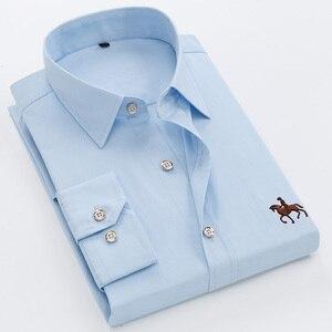 Image 4 - Вышитые рубашки больших размеров 6XL из 100% хлопка, мужская рубашка с длинным рукавом, удобная тонкая мужская классическая рубашка 5XL размера плюс, высокое качество, дешево