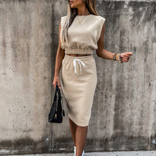 2021 Women Casual Sets Sexy Sleeveless Tops Drawstring Skirt Summer Outfit Suit Loose Fashion Thin Lady Two Piece Skirt Suits
