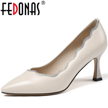 FEDONAS Women Cow Leather Wedding Prom High Heels Pumps Spring Summer Rhinestone Pointed Toe Pumps 2020 Quality Sexy Shoes Woman