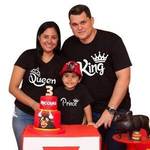 Футболка с короткими рукавами для всей семьи, одежда для папы, мамы и дочки, королевская королева, принц, Одинаковая одежда для всей семьи