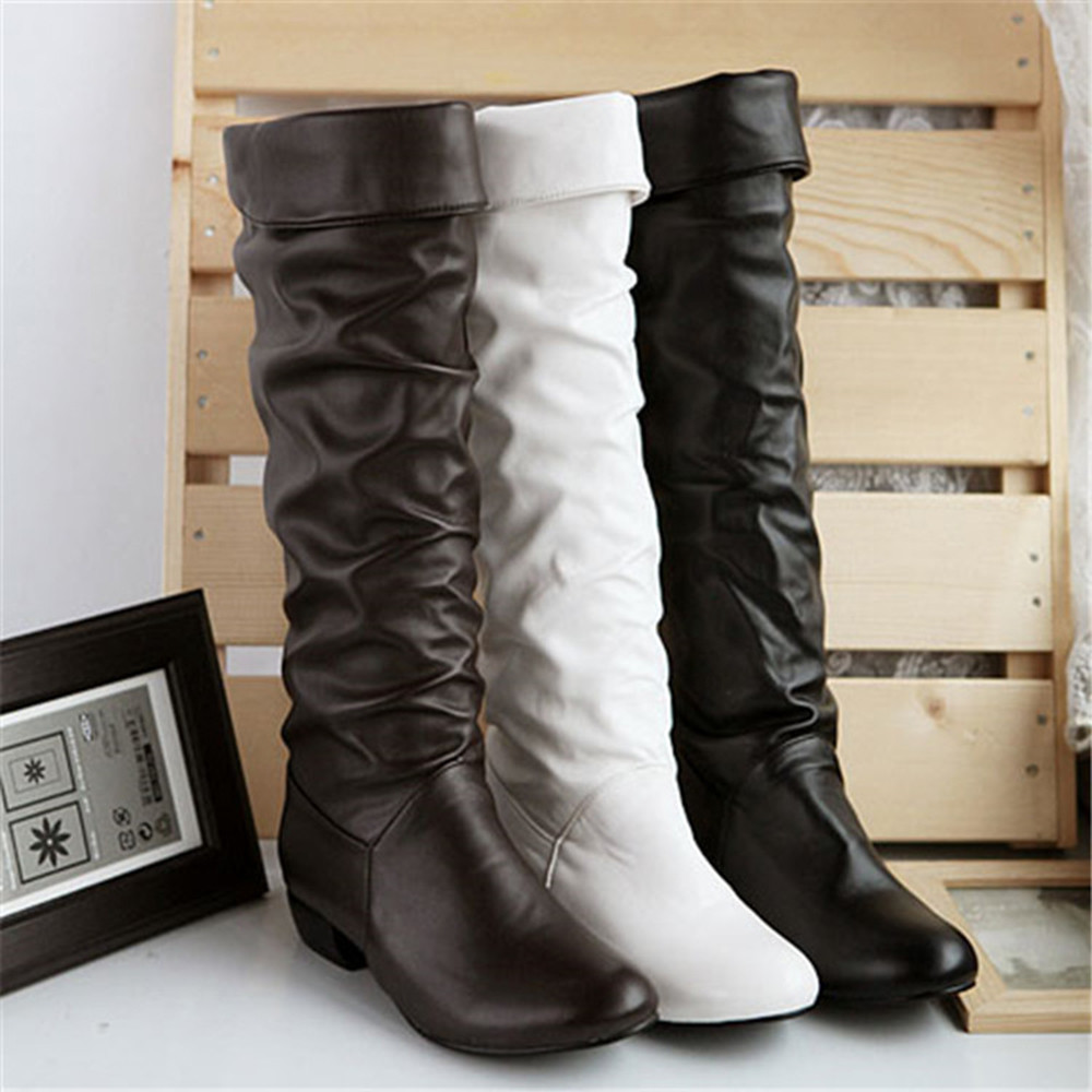 Women's Winter Knee High Boots High Tube Flat Heels Riding Boots Round Toe Boots Female Shoes Plus Size