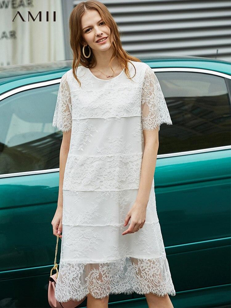 Amii Minimalist Lace Splicing Dresses Spring Women Fashion Solid Short Sleeve Round Neck Female Dress 11940079