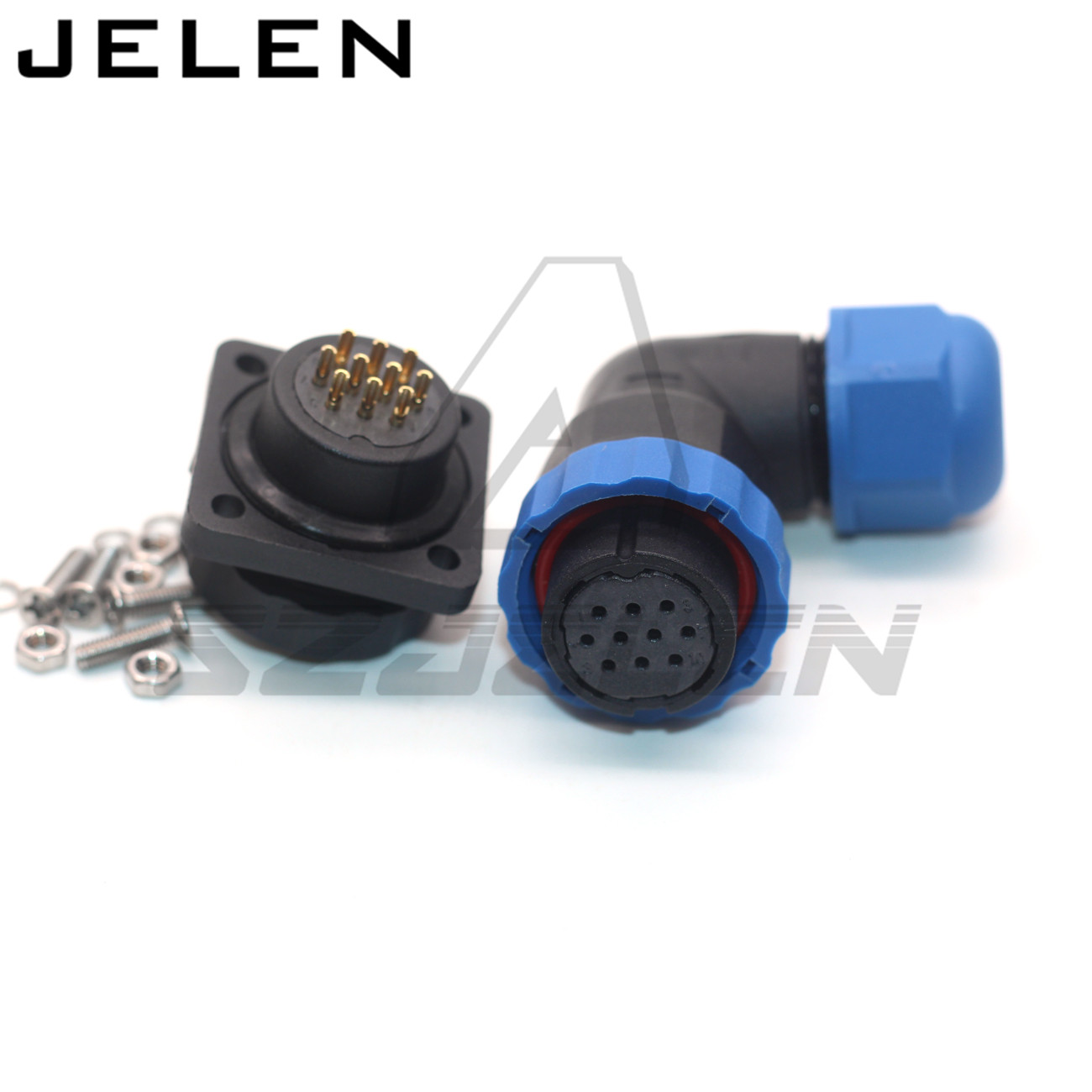 SD20 ip68 waterproof connector <font><b>1</b></font> 2 <font><b>3</b></font> <font><b>4</b></font> <font><b>5</b></font> 6 7 8 9 10 12 14pin connector Square Panel mount connector, outdoor power supply plug image