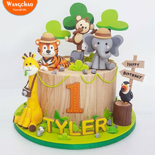 Lovely Forest Animals Gather Giraffes Tigers Elephants Safari Happy Birthday Cake Topper Jungle Party Supplies Kids Favors