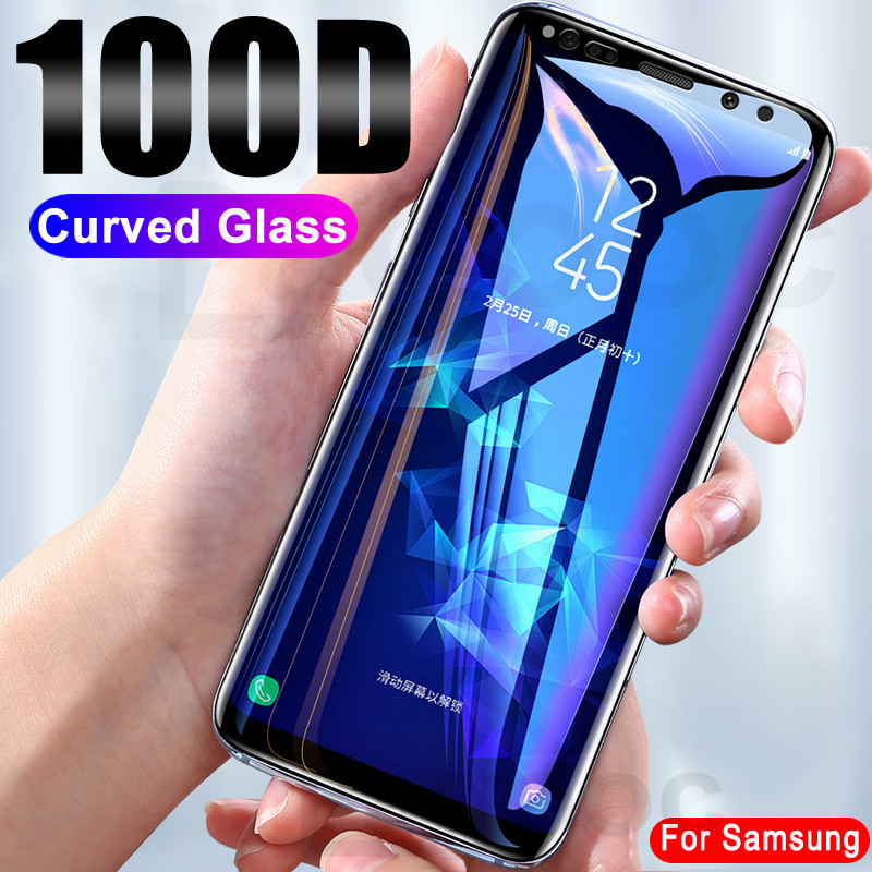 100D Full Curved Glass On The For Samsung Galaxy Note 8 9 S7 S6 Edge S9 S8 Plus Tempered Screen Protector Glass Protective Film