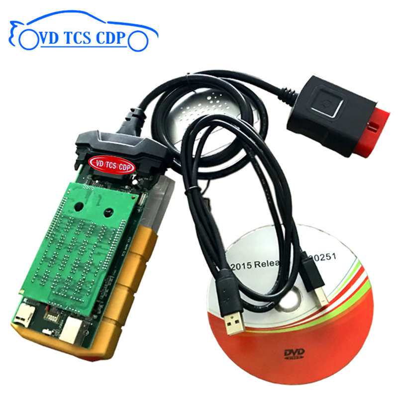 Gold Color VD Tcs Cdp Pro Plus  2015.3 With Keygen/2016 R0 Free Active With Bluetooth New Vci For Delphis Vd Ds150e Cdp