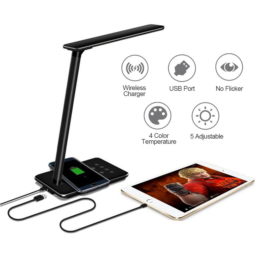 Image 5 - LED Table Lamp QI Wireless Charger 10W Desk Lamp Brightness Adjustable Multi Function Reading Light Eye protect Study Desk LampDesk Lamps   -