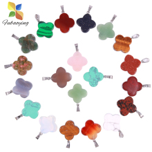 2021 Trendy Four Leaf Clover Necklace Earring Ring Charm Pendant 50pcs Natural Stone Pendant DIY Wholesale for Jewelry Making