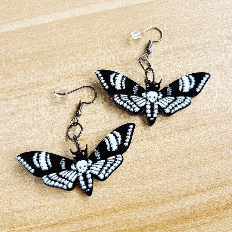 Черный темный череп Мотылек насекомое бабочка акриловые серьги для женщин и девочек преувеличенный уникальные подвесные серьги ювелирные ...