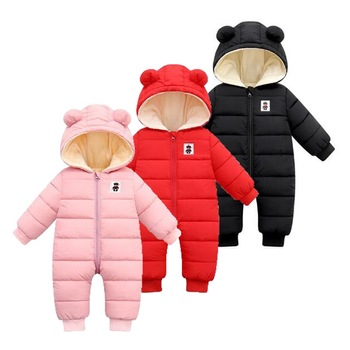 Baby Girl Romper Winter Newborn Baby Clothes Boy Long Sleeve Velvet With Hooded Wind Proof Warm Jumpsuit For 0-24M autumn and winter baby boy girl clothes hooded thicken velvet padded warm cotton newborn baby snowsuit coat 6m 24m