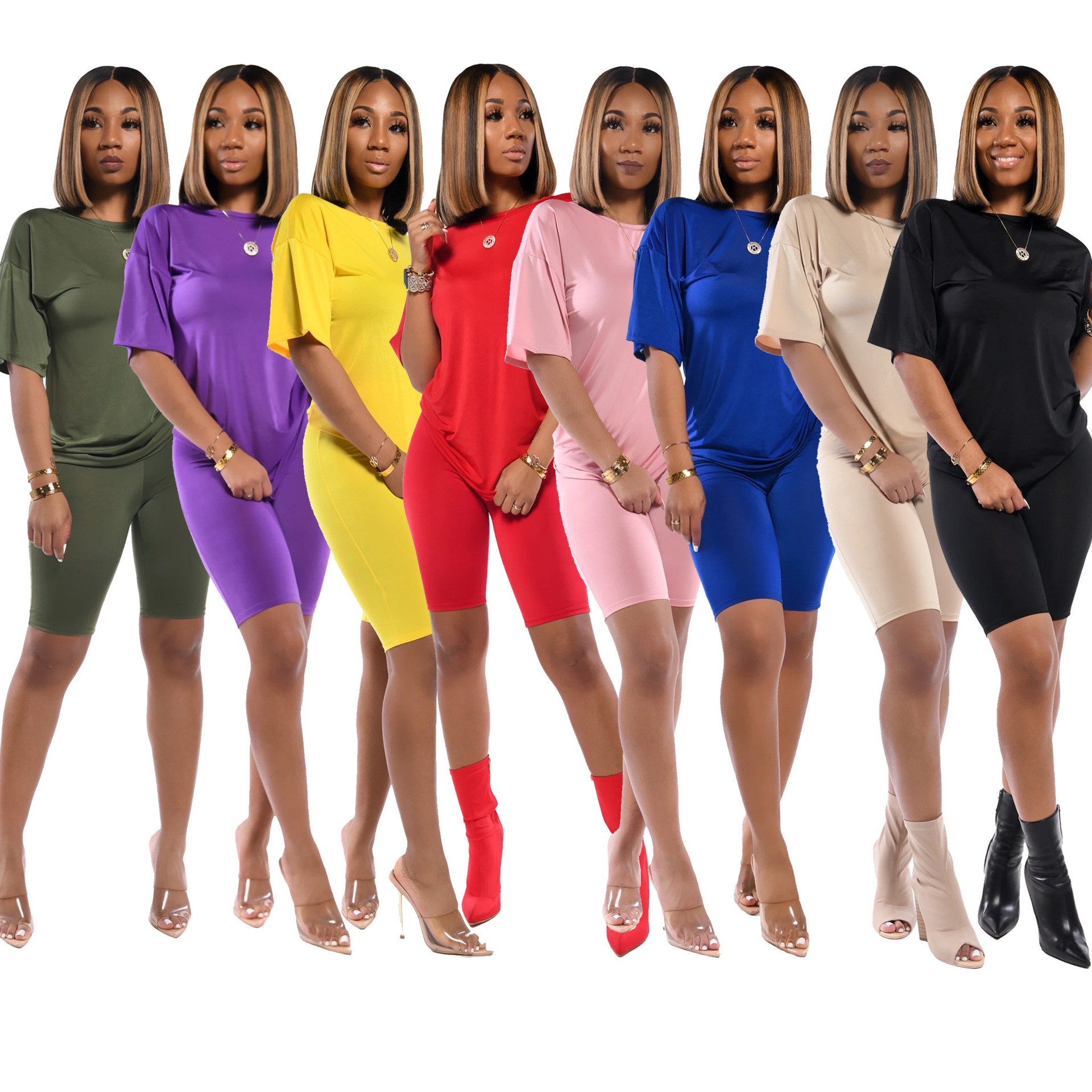 2020 Summer New Two 2  Piece Suit Set Women's Short-sleeve T-shirt Top+ Biker Shorts Casual Avtive Sport Outfits Night Club Sets