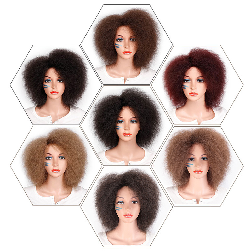 Synthetic Afro Wig for Women African Dark Brown Black Red Color Yaki Straight Short Wig Cosplay Hair 4